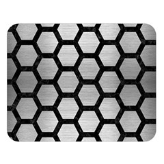 Hexagon2 Black Marble & Silver Brushed Metal Double Sided Flano Blanket (large)