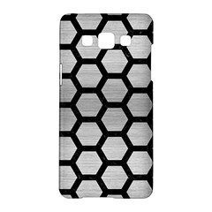 Hexagon2 Black Marble & Silver Brushed Metal Samsung Galaxy A5 Hardshell Case