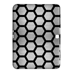 Hexagon2 Black Marble & Silver Brushed Metal Samsung Galaxy Tab 4 (10 1 ) Hardshell Case