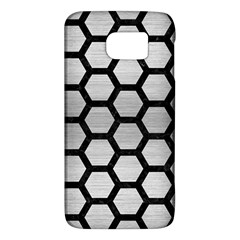 Hexagon2 Black Marble & Silver Brushed Metal Samsung Galaxy S6 Hardshell Case