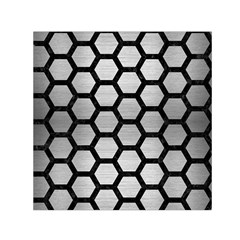 Hexagon2 Black Marble & Silver Brushed Metal Small Satin Scarf (square)