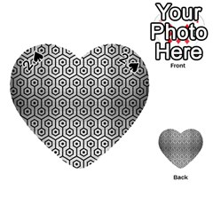Hexagon1 Black Marble & Silver Brushed Metal (r) Playing Cards 54 (heart)