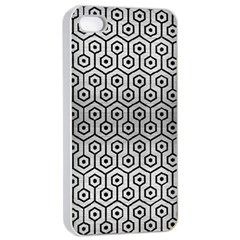 Hexagon1 Black Marble & Silver Brushed Metal (r) Apple Iphone 4/4s Seamless Case (white)