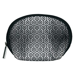 Hexagon1 Black Marble & Silver Brushed Metal (r) Accessory Pouch (medium)