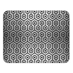 Hexagon1 Black Marble & Silver Brushed Metal (r) Double Sided Flano Blanket (large)