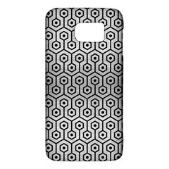 Hexagon1 Black Marble & Silver Brushed Metal (r) Samsung Galaxy S6 Hardshell Case
