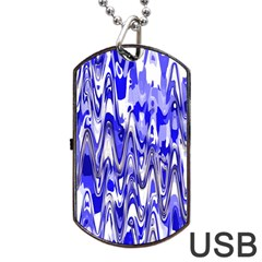 Funky Chevron Blue Dog Tag Usb Flash (one Side)