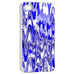 Funky Chevron Blue Apple Iphone 4/4s Seamless Case (white)