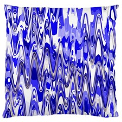 Funky Chevron Blue Large Flano Cushion Cases (one Side)