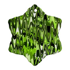 Funky Chevron Green Snowflake Ornament (2 Side)