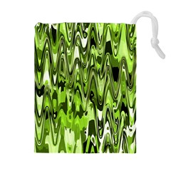 Funky Chevron Green Drawstring Pouches (Extra Large)