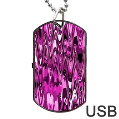 Funky Chevron Hot Pink Dog Tag Usb Flash (one Side)