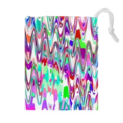 Funky Chevron Multicolor Drawstring Pouches (extra Large)