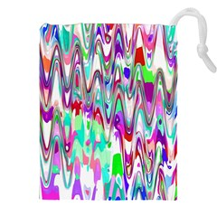 Funky Chevron Multicolor Drawstring Pouches (XXL)