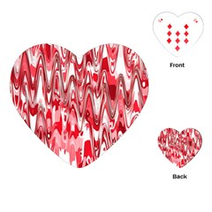 Funky Chevron Red Playing Cards (heart)
