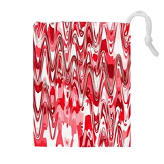 Funky Chevron Red Drawstring Pouches (Extra Large)