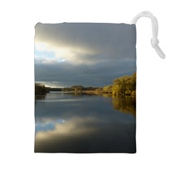 View   On The Lake Drawstring Pouches (Extra Large)