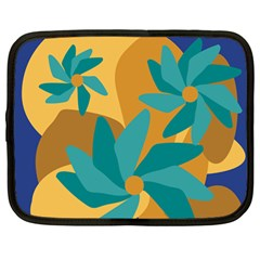 Urban Garden Abstract Flowers Blue Teal Carrot Orange Brown Netbook Case (large)