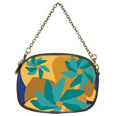 Urban Garden Abstract Flowers Blue Teal Carrot Orange Brown Chain Purses (two Sides)