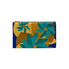 Urban Garden Abstract Flowers Blue Teal Carrot Orange Brown Cosmetic Bag (small)