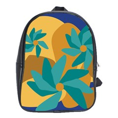 Urban Garden Abstract Flowers Blue Teal Carrot Orange Brown School Bags (xl)