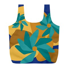 Urban Garden Abstract Flowers Blue Teal Carrot Orange Brown Full Print Recycle Bags (l)