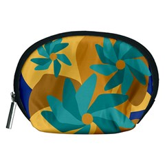 Urban Garden Abstract Flowers Blue Teal Carrot Orange Brown Accessory Pouches (medium)