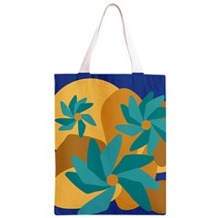 Urban Garden Abstract Flowers Blue Teal Carrot Orange Brown Classic Light Tote Bag