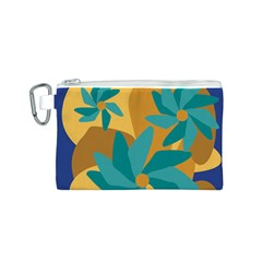 Urban Garden Abstract Flowers Blue Teal Carrot Orange Brown Canvas Cosmetic Bag (s)