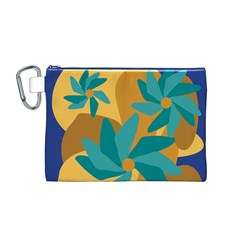 Urban Garden Abstract Flowers Blue Teal Carrot Orange Brown Canvas Cosmetic Bag (m)