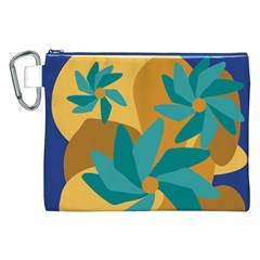 Urban Garden Abstract Flowers Blue Teal Carrot Orange Brown Canvas Cosmetic Bag (xxl)