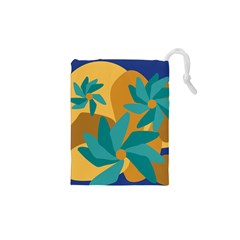 Urban Garden Abstract Flowers Blue Teal Carrot Orange Brown Drawstring Pouches (xs)