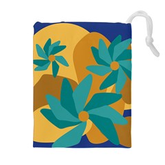 Urban Garden Abstract Flowers Blue Teal Carrot Orange Brown Drawstring Pouches (Extra Large)