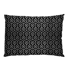 Hexagon1 Black Marble & Silver Brushed Metal Pillow Case