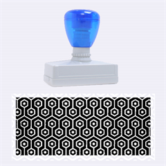 Hexagon1 Black Marble & Silver Brushed Metal Rubber Stamp (large)