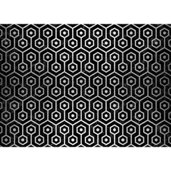 Hexagon1 Black Marble & Silver Brushed Metal Birthday Cake 3d Greeting Card (7x5)