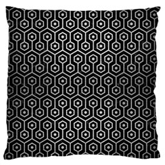 Hexagon1 Black Marble & Silver Brushed Metal Large Flano Cushion Case (one Side)