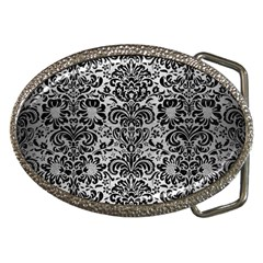Damask2 Black Marble & Silver Brushed Metal (r) Belt Buckle