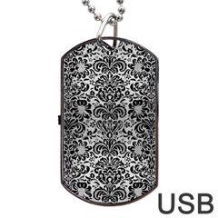 Damask2 Black Marble & Silver Brushed Metal (r) Dog Tag Usb Flash (one Side)