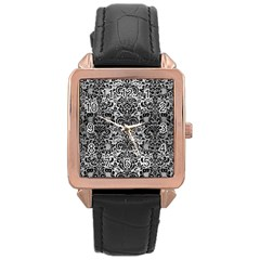 Damask2 Black Marble & Silver Brushed Metal (r) Rose Gold Leather Watch