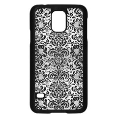 Damask2 Black Marble & Silver Brushed Metal (r) Samsung Galaxy S5 Case (black)