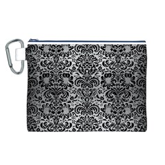 Damask2 Black Marble & Silver Brushed Metal (r) Canvas Cosmetic Bag (large)