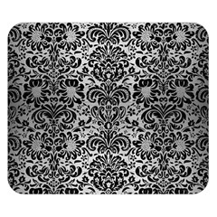 Damask2 Black Marble & Silver Brushed Metal (r) Double Sided Flano Blanket (small)