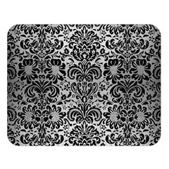 Damask2 Black Marble & Silver Brushed Metal (r) Double Sided Flano Blanket (large)