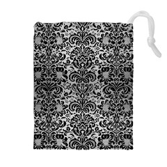 Damask2 Black Marble & Silver Brushed Metal (r) Drawstring Pouch (xl)