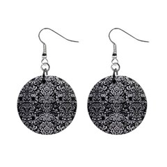 Damask2 Black Marble & Silver Brushed Metal 1  Button Earrings