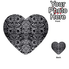 Damask2 Black Marble & Silver Brushed Metal Multi Purpose Cards (heart)
