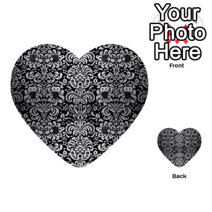 DAMASK2 BLACK MARBLE & SILVER BRUSHED METAL Multi-purpose Cards (Heart)