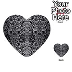 DAMASK2 BLACK MARBLE & SILVER BRUSHED METAL Multi-purpose Cards (Heart) Back 6