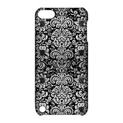 Damask2 Black Marble & Silver Brushed Metal Apple Ipod Touch 5 Hardshell Case With Stand